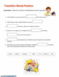 Interactive worksheet Transition words