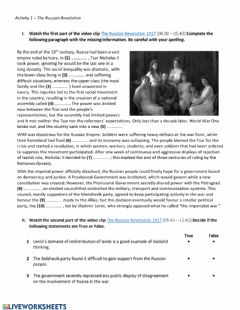 Interactive worksheet The Russian Revolution