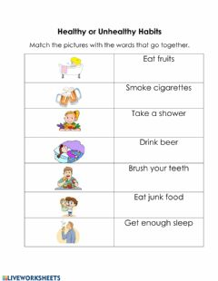 Interactive worksheet Healthy and Unhealthy Habits