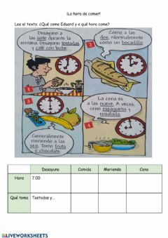 Interactive worksheet ¿Qué come Eduard y a que hora?