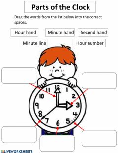 Interactive worksheet Parts of The Clock