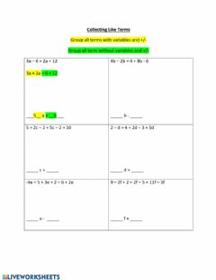 Interactive worksheet Collecting Like Terms
