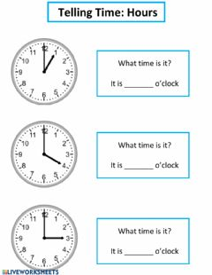 Interactive worksheet Telling Time: Hours