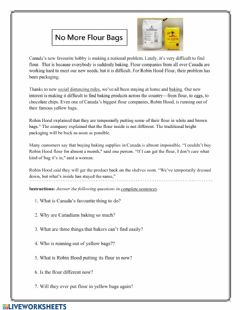 Interactive worksheet No More Flour Bag