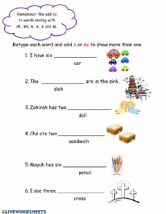 Interactive worksheet Plurals: Adding s or es