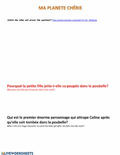 Ficha interactiva Listenning comprehension-écoute-French