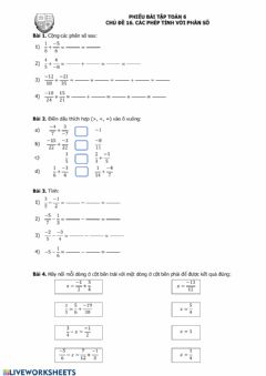 Interactive worksheet Fraction