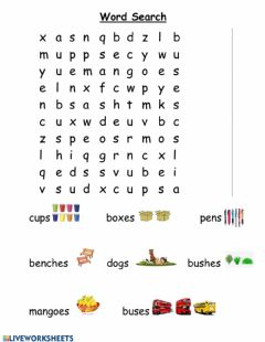 Ficha interactiva Plurals Word Search
