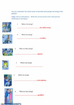 Interactive worksheet Action verb recap in the present continuous