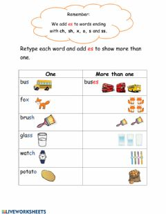 Interactive worksheet Singular and Plural: Adding es