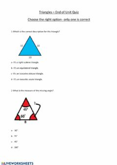Interactive worksheet Triangles end of unit quiz