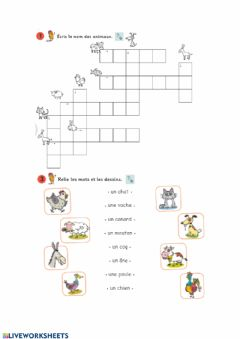 Interactive worksheet Les animaux de la ferme