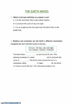 Interactive worksheet The Earth moves