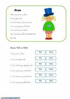 Interactive worksheet CLOTHES Choose True or False