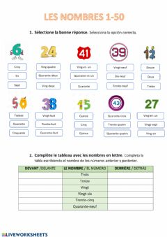 Interactive worksheet Les nombres 1-50