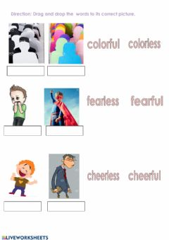 Interactive worksheet Changing Nouns to Adjectives