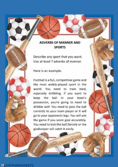 Interactive worksheet Adverbs of manner and sports