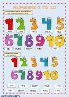 Ficha interactiva Numbers 1 to 10
