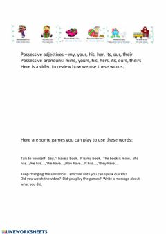 Interactive worksheet Possessive adjectives and pronouns