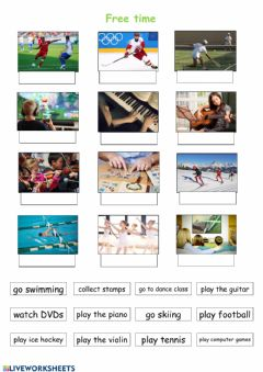 Ficha interactiva Free time vocabulary