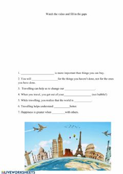 Interactive worksheet Why travelling is important