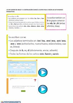 Interactive worksheet La b o v