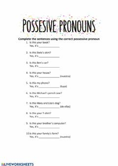 Ficha interactiva Possesive Pronouns