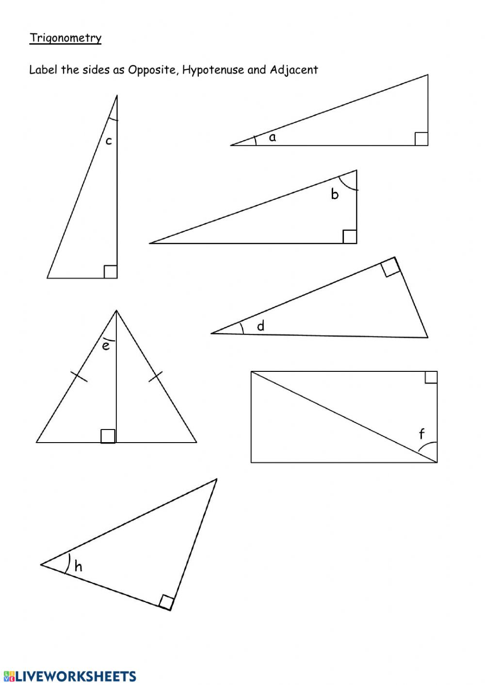 Label sides in right angle triangles worksheet With Right Triangle Trig Worksheet