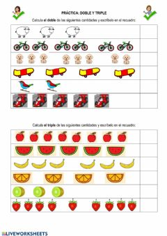 Interactive worksheet Boble y triple