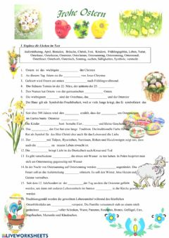 Interactive worksheet Osternbräuche