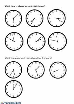 Ficha interactiva Time and Elapsed Time
