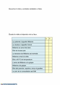 Interactive worksheet Dialogue chez le médecin