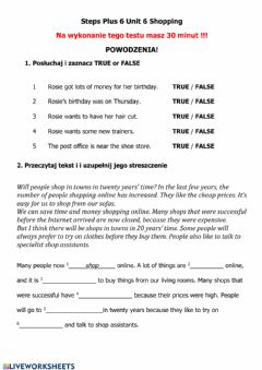 Interactive worksheet Test Shopping - Steps Plus 6