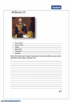 Interactive worksheet Alfonso XII facebook profile