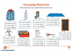 Interactive worksheet Grouping materials