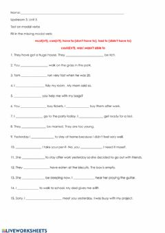 Interactive worksheet Upstream 3, Unit 5 Modal verbs