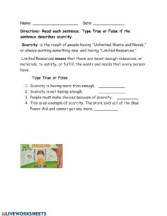 Interactive worksheet Scarcity True False