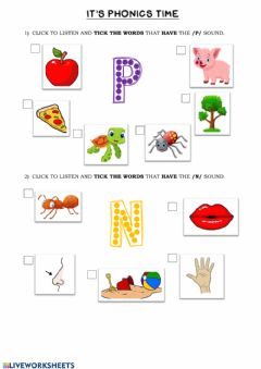 Interactive worksheet Phonics Group 1 (n-p)