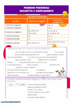 Interactive worksheet Pronomi personali