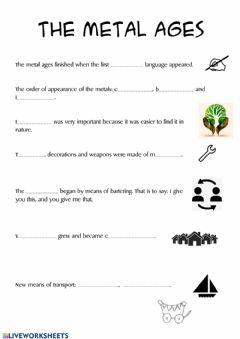 Interactive worksheet The metal ages