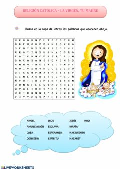 Interactive worksheet Virgen María