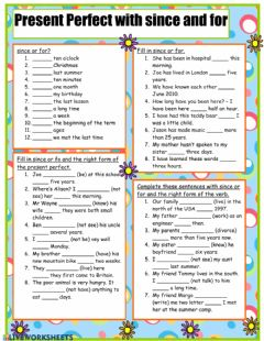 Interactive worksheet Present Perfect For & Since