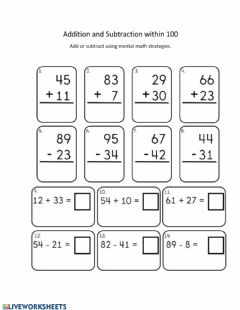Interactive worksheet Addition and Subtraction within 100