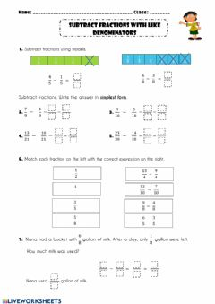 Interactive worksheet Subtract fractions with like denominators (Practice)