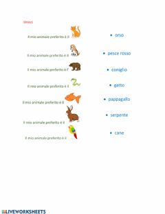 Interactive worksheet Animale preferito