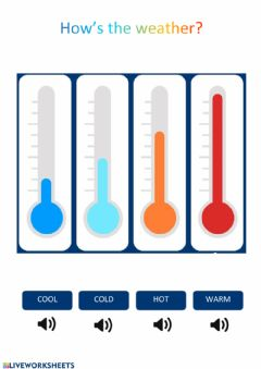 Interactive worksheet Cold, cool, warm, hot