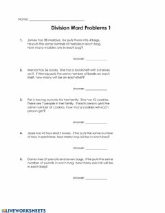 Interactive worksheet Division Word Problems 1