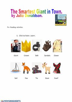 Interactive worksheet CLOTHES.-Pre-reading The Smartest Giant in Town
