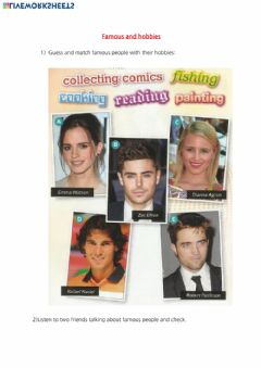 Interactive worksheet Famous people and hobbies