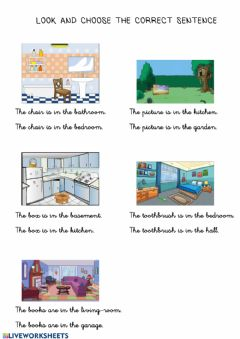 Interactive worksheet OBJECTS Look and choose the correct sentence